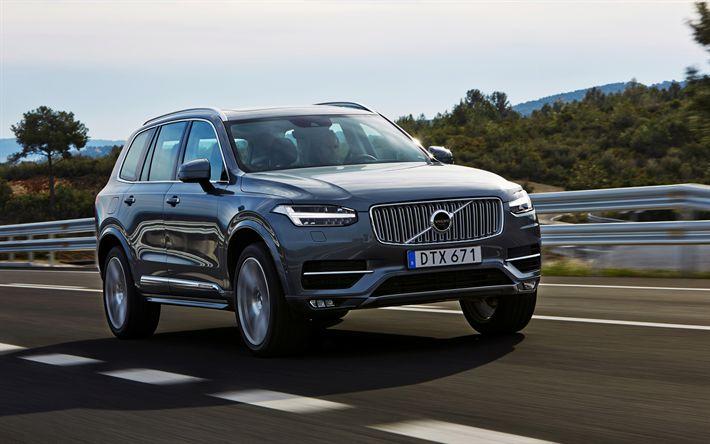 Scarica sfondi Volvo XC90, 2017, SUV di Lusso, XC90 Diesel, Grigio XC90, svedese auto, auto nuove, Volvo