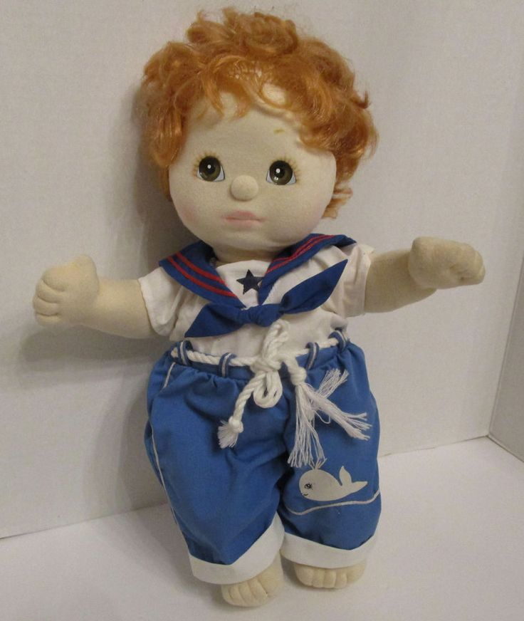 My Child Doll Mattel Vtg 1985 Red Hair Brown Eyes Plush Blue Sailor Outfit 14 in #Mattel