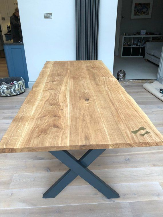 Hand Made Straight Or Live Waney Edge English Oak Dining Etsy Dining Table Dining Oak Table