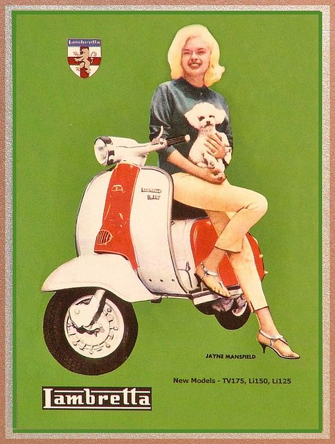 Jayne Mansfield and Lambretta (it could basically be me and my maltese Morky!)