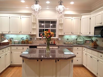 appealing white kitchen cabinets beige walls | Cabinets are Benjamin Moore linen white & walls are clay ...