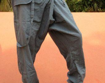 Pantalones de Sarwel de hombre en algodón azul / gris