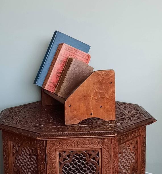 Book Cradle Vintage Desktop Book Shelf Book Display Stand Etsy Book Display Stand Book Display Display Stand