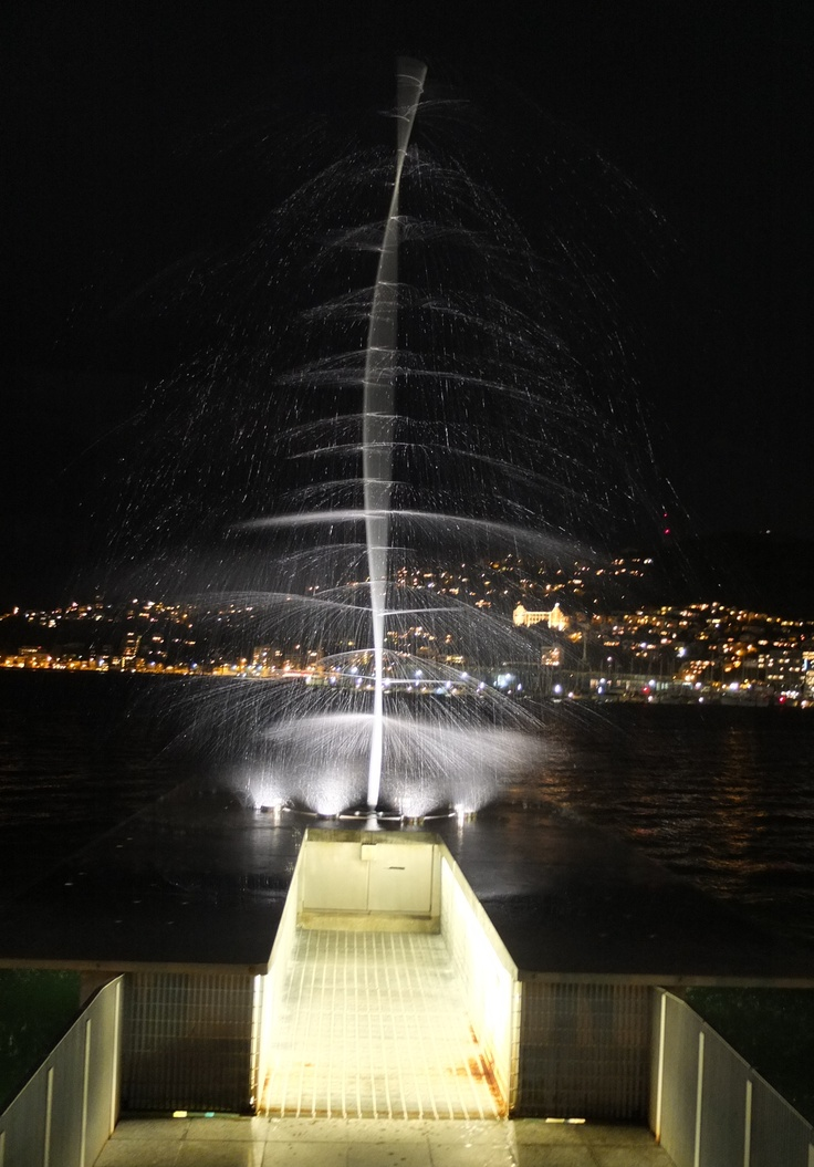 Len Lye's water whirler.  One of the many sculptures along Wellington's waterfront - pretty both day and night.
