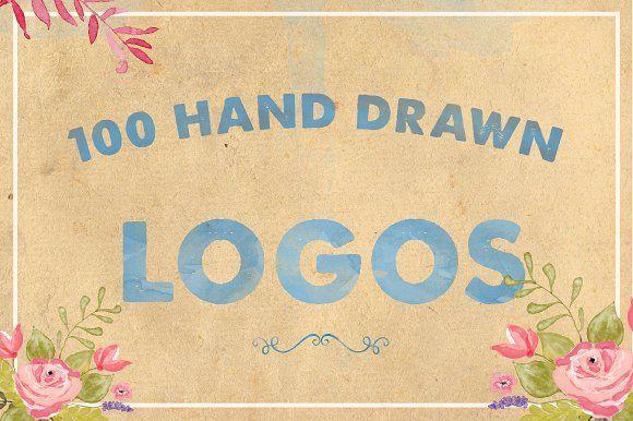 100 Hand Drawn Logos by Maroon Baboon on @creativemarket