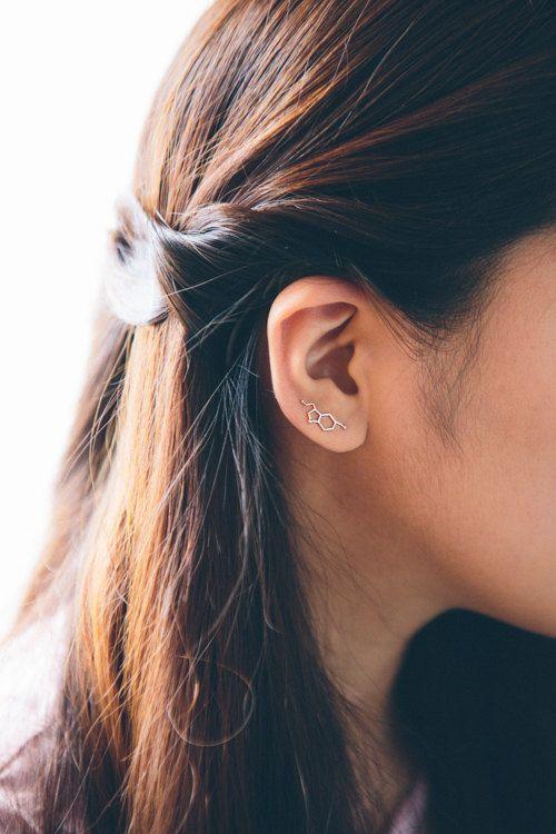 Serotonin Molecule Ear Pin Earrings 010500027-010500028 by Lovoda