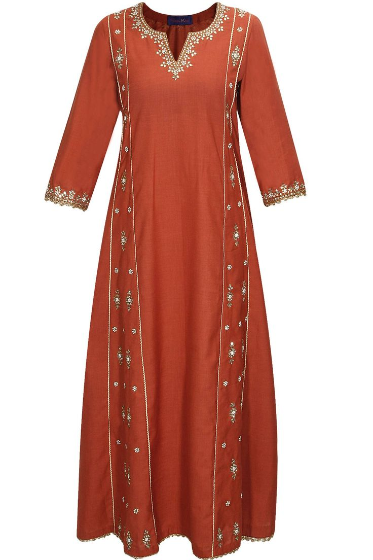 Reddish brown and gold embroidered kalidaar kurta set available only at Pernia's Pop-Up Shop.
