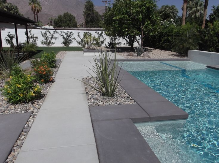 New backyard project in palm springs sleek modern lines - Palm springs swimming pool contractors ...