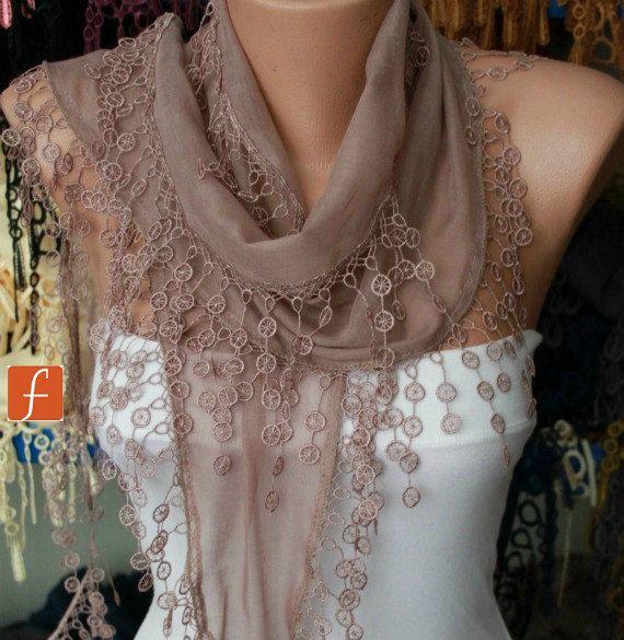 Khaki Scarf  - Cotton  Scarf - Shawl - Cowl Scarf - Bridesmaid Gift with Lace Edge. $15.00, via Etsy.