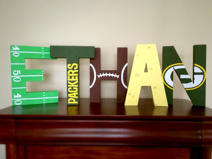 NFL painted letters for boys bedroom. Greenbay Packers themed football letters.
