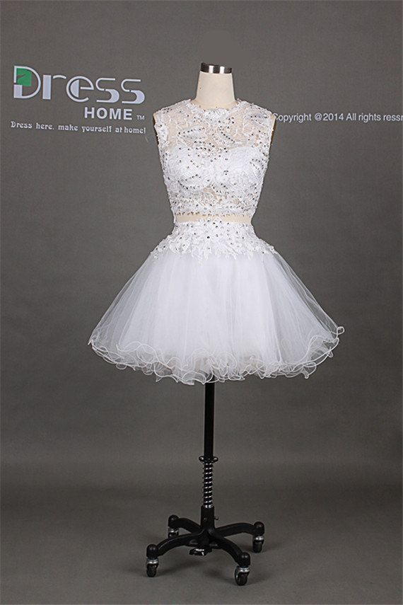2014 White Round Neck Beading Lace Puffy Mini Short Homecoming Dress