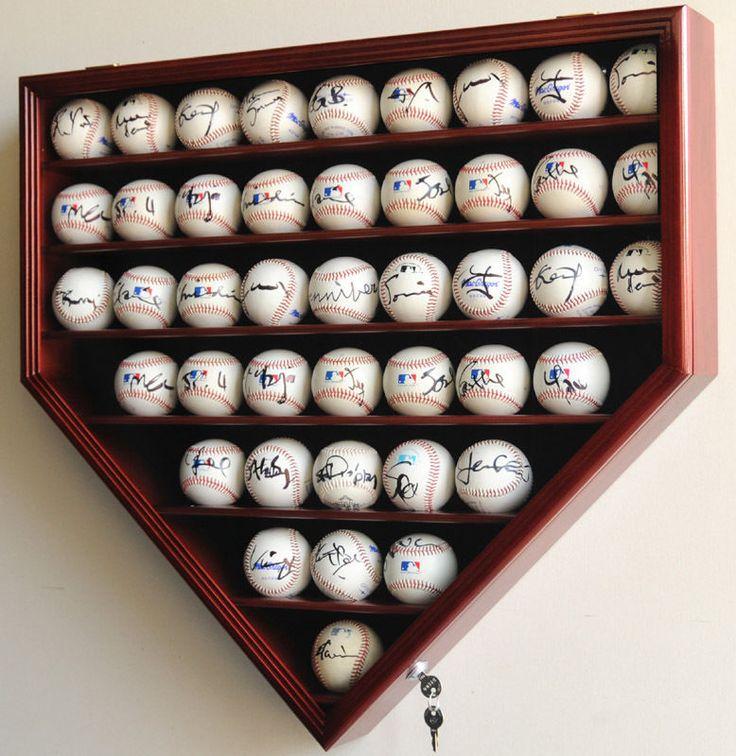 43 Baseball Hp Shaped Display Case Wall Rack Cabinet Uv