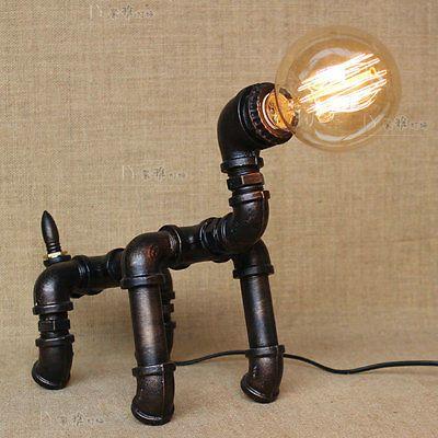Maquina-Industrial-edad-Tubo-Steampunk-Robot-Cachorro-tabla-antqiue-Lampara-De-Escritorio