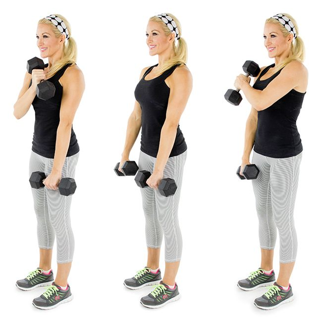 Crossover Hammer Curl-Begin with your arms fully extended with palms turned in. Cross the right arm over the body and across the chest, curling the dumbbell up toward your opposite shoulder.Slowly return the right arm back to your right side and repeat with the left arm, alternating arms each time.