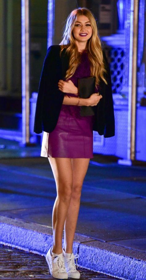 Gigi Hadid Wearing Adidas Superstars.