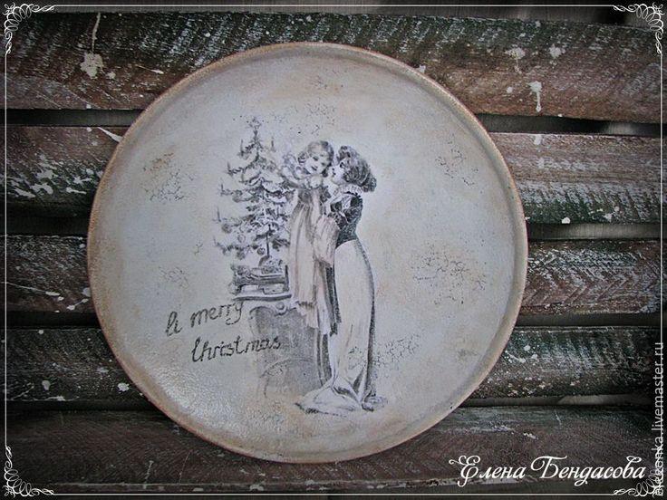 """Купить Декоративная тарелка """"A merry Christmas"""" - черно-белый, тарелка, Тарелка декоративная"""