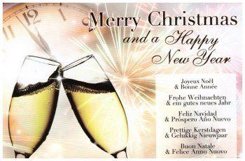 Merry christmas and a happy New Year  Kerstkaart met verschillende talen: Prettige kerstdagen en gelukkig Nieuwjaar, Merry Christmas and happy New Year, Frohe Weihnachten und ein Gutes Neues Jahr, Joyeux Noel et bonne Annee