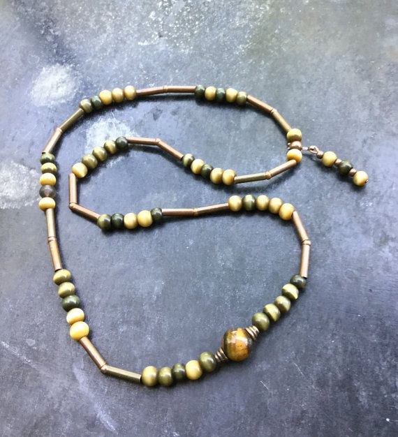 30% OFF for the first 20:  Unisex necklace - beaded necklace – rustic necklace. Tiger eye & stone beads, exotic wooden beads.