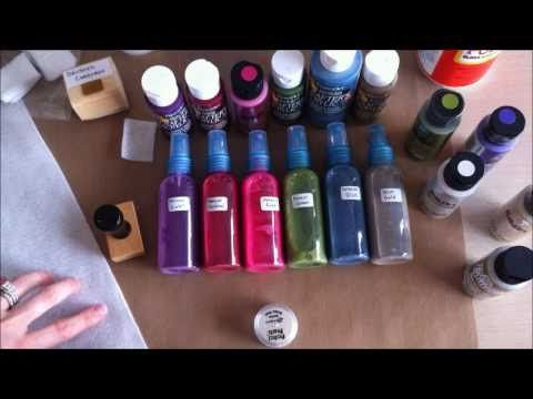 homemade glimmer mist using acrylic paint, glimmer paint or metallic paint, water, plastic spray bottle