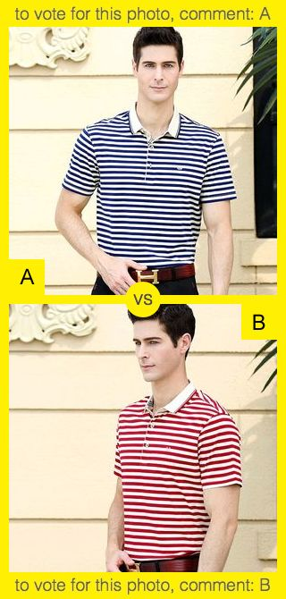 To vote for top photo comment A, to vote for bottom photo comment B. See results at http://swingvoteapp.com/#!polls/860. Click here http://swingvoteapp.mobi/ to install Swingvote mobile app and create your own polls.