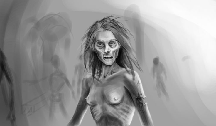 #sketch #greyscale #zombie  #digitalpainting