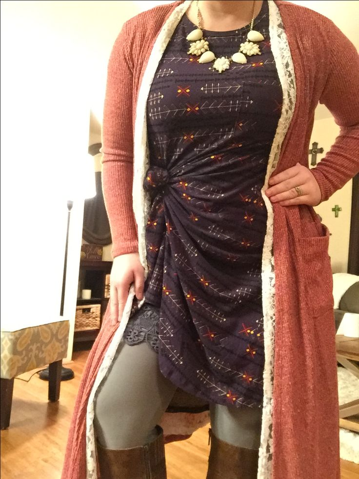 Knotted LuLaRoe Carly with a white joy, pink Sarah, light gray leggings and lace slip extender.