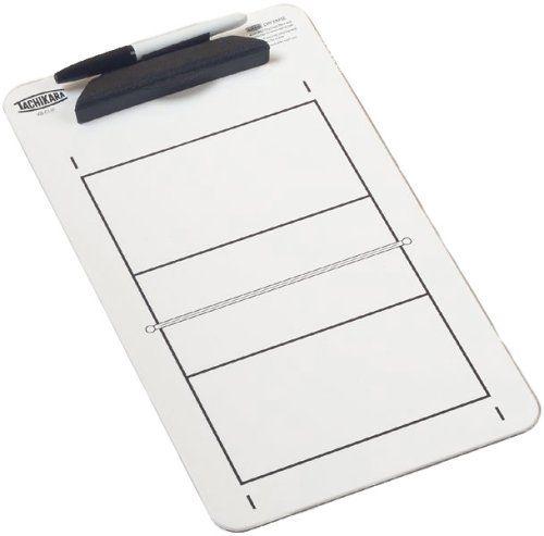 Tachikara VB-CLIP Dry Erase Clipboard with Volleyball Court Diagram, White