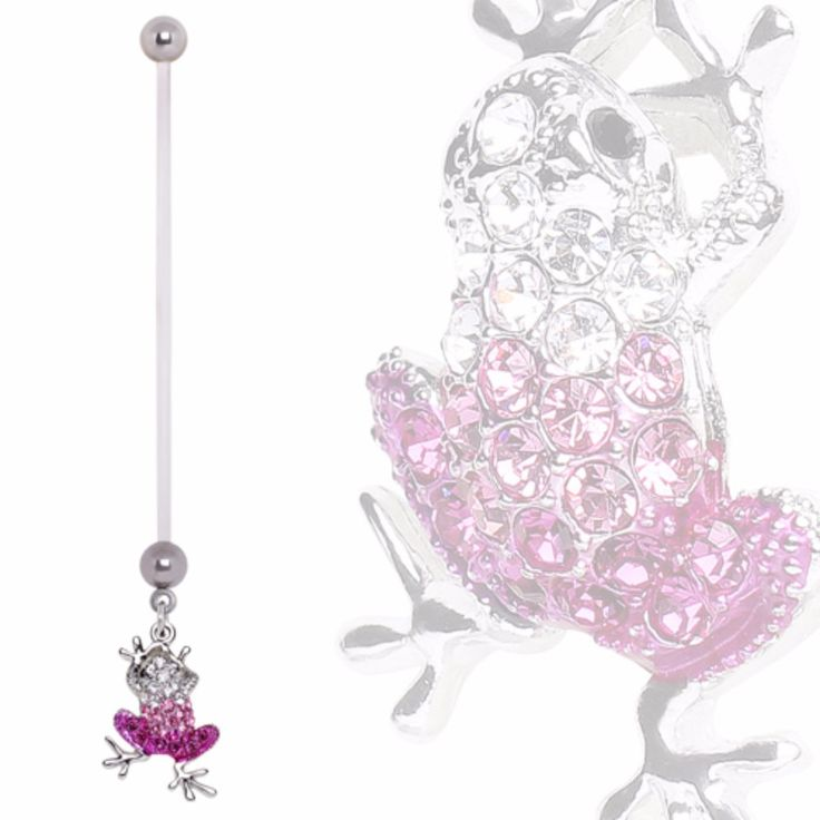 BioFlex Pregnancy Navel Ring with Gradient Pink Frog Dangle