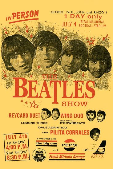 Beatles - The Beatles Philippines Concert Poster 1966 in British Invasion Music Posters