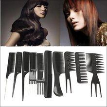10 pcs Kits de Pentes de Cabelo Profissional Salão De Barbeiro Pente Escovas Anti-estático Escova De Cabelo Hair Care Styling Tools Set alishoppbrasil