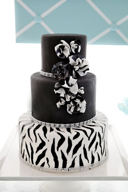 bling cake table | the zebra print cake was the centerpiece of the table since ruffles ...