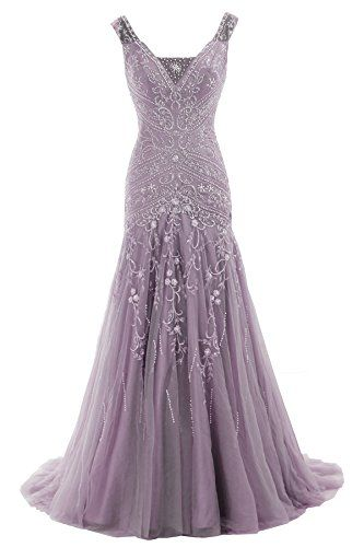 Cocomelody A Line V Neck Long Beaded Evening Dress Bmmc0009 Purple 10