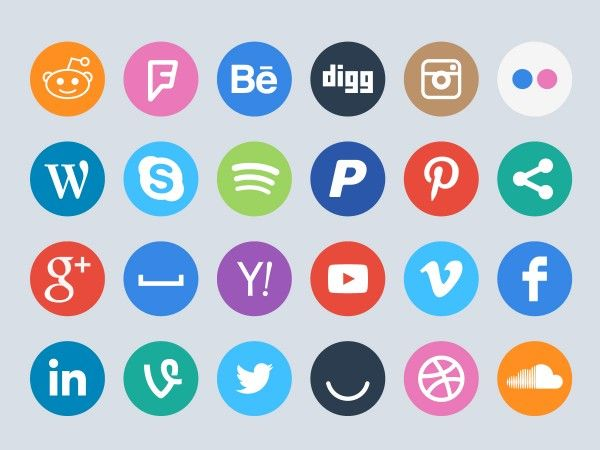 FREE  60 Social Circles flat styled vector icons by ikono.me