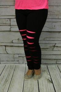 Spodnie elastyczne neonowe nacięcia róż