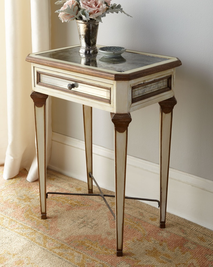 Louis XVI Mirrored Side Table   Tara Shaw ( Bedside Tables Wood Antique  Antique White Brown