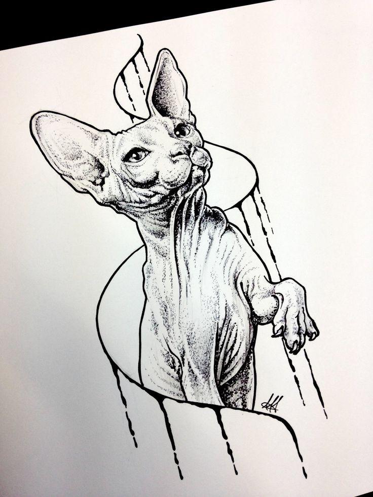 Sphynx cat sketch tattoo by AntoniettaArnoneArts.deviantart.com on @DeviantArt
