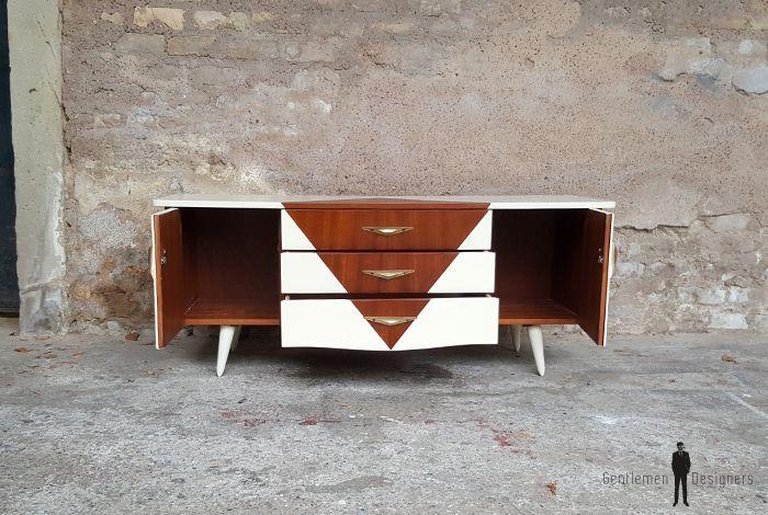 Petit meuble tv hifi, vintage scandinave motif graphique // GENTLEMEN DESIGNERS