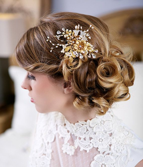 Gold and Pearl Flower Headpiece Gold Bridal by Gilded ...