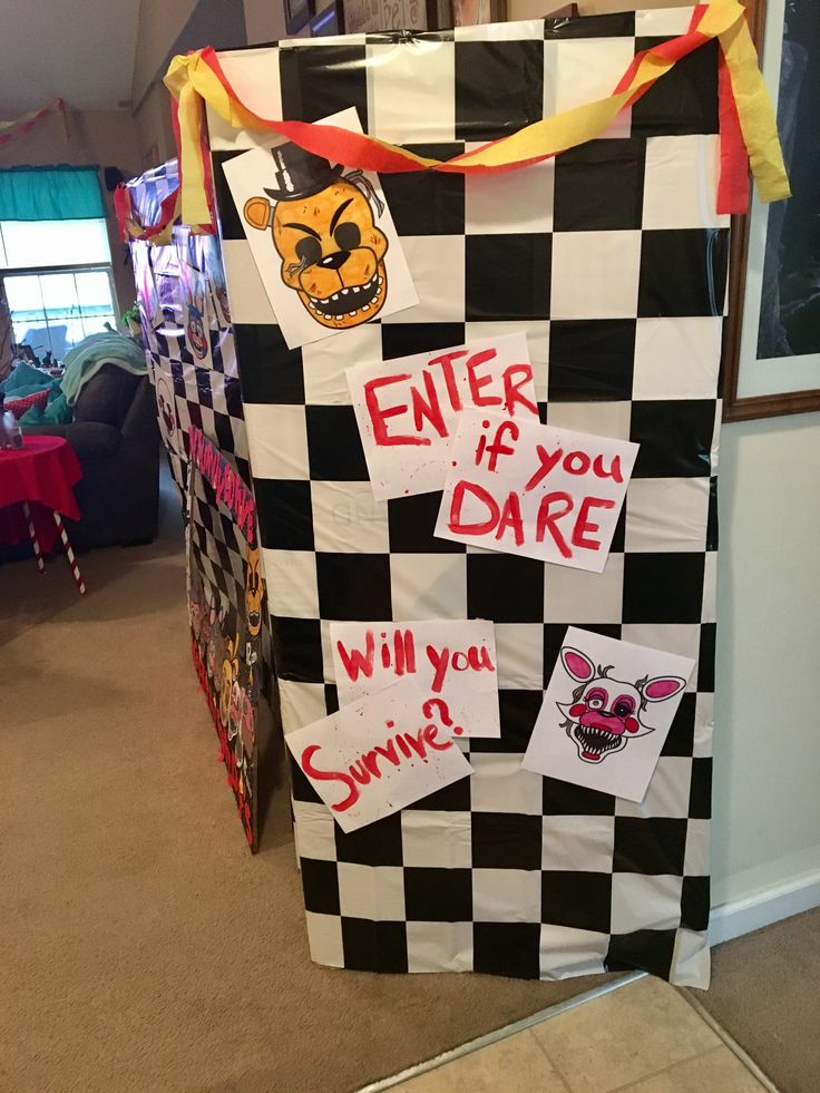 FNAF birthday The entrance to our party.