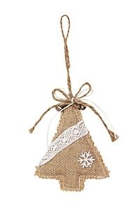 HESSIAN TREE WITH LACE DETAIL CHRISTMAS DECORATION