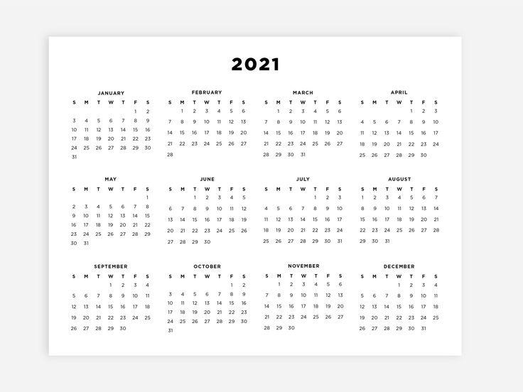 8.5x11 Printable 2021 Calendar, Letter Calendar, 2021 Year ...