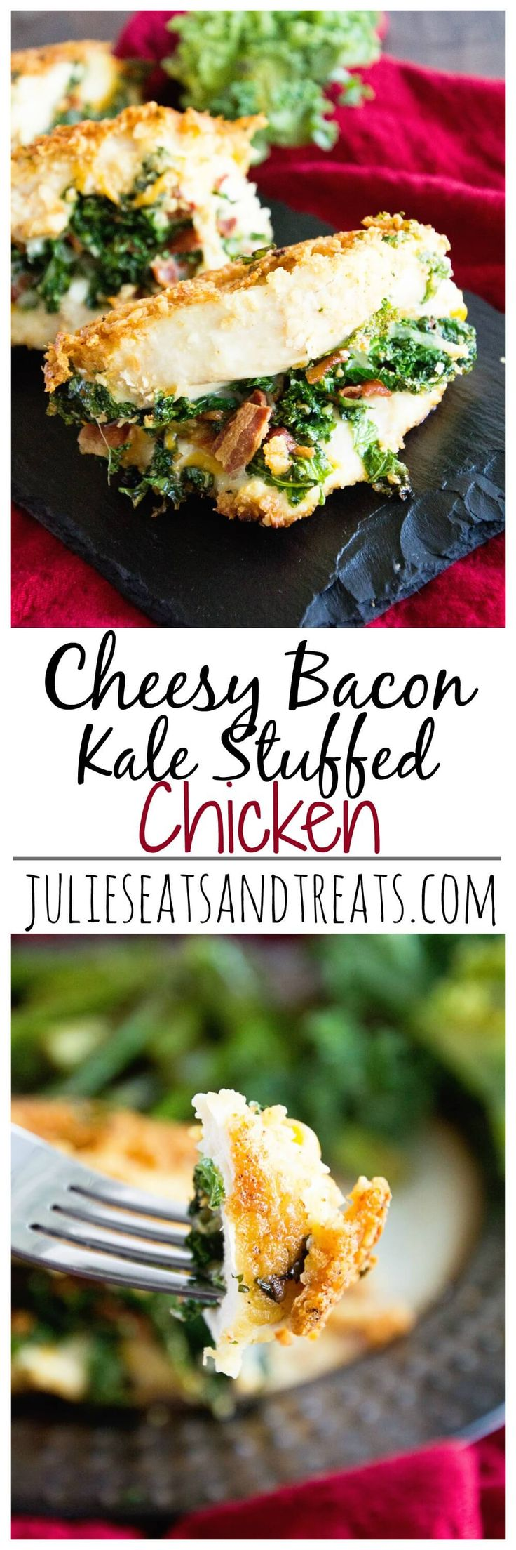 Cheesy Bacon Kale Stuffed Chicken ~ Delicious, Tender Chicken Breasts Stuffed with Cheese, Bacon and Kale! Quick, Easy and Delicious Recipe! ~ http://www.julieseatsandtreats.com