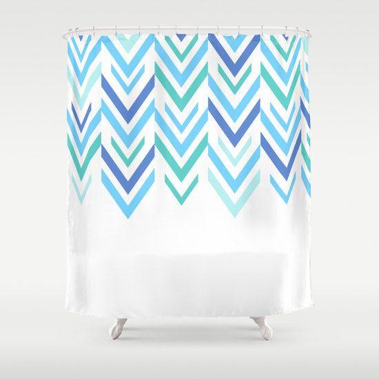 Shower Curtain -Blue Arrow Shower Curtain - Blue Shower Curtain - Bathroom Decor - Made to Order by ShelleysCrochetOle on Etsy
