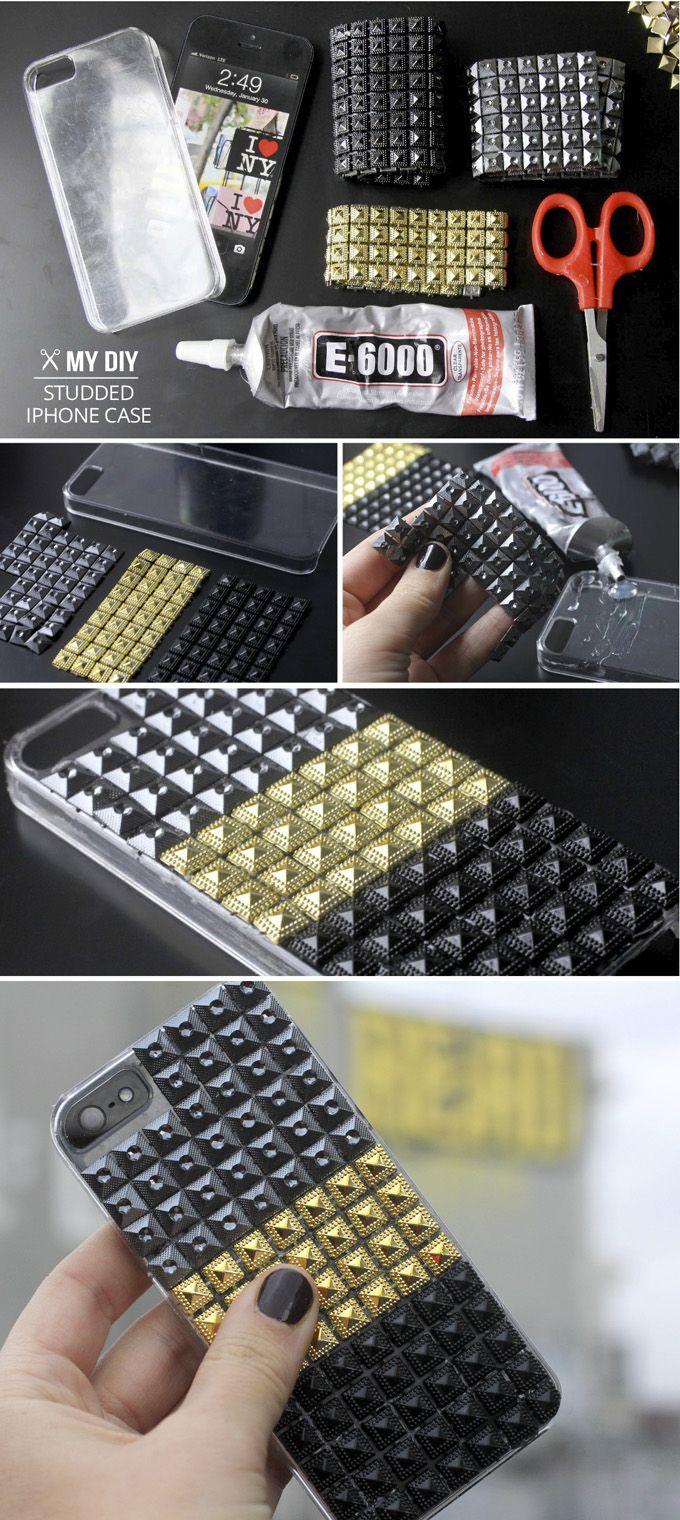 I Spy DIY: MY DIY   Stud iPhone Case http://www.ispydiy.com/2013/01/my-diy-stud-iphone-case.html#more