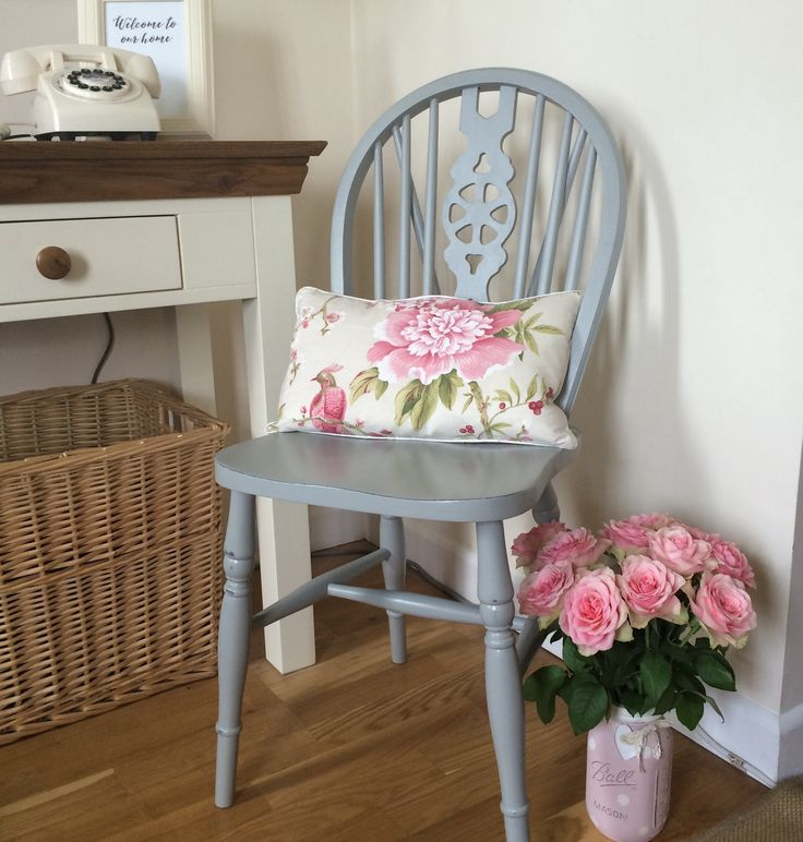 UpCycled country style farmhouse wooden chair. Painted in Annie Sloan 'Paris grey' chalk paint x