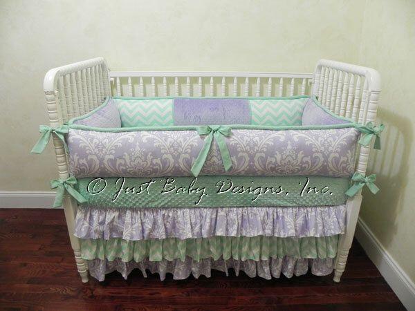 Custom Baby Bedding Set Lavana - Girl Baby Bedding, Lavender Crib Bedding, Mint Baby Bedding, Chevron Bedding, Ruffle Skirt by BabyBeddingbyJBD on Etsy https://www.etsy.com/listing/247371769/custom-baby-bedding-set-lavana-girl-baby