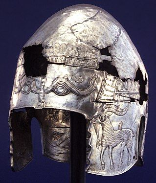 Hammered Silver Thracian Helmet  --  Circa 400 BCE  --  This richly ornamented helmet was fashioned for a wealthy member of a northern Thracian tribe living near the Danube river in modern Romania or Bulgaria.  It was hammered from one sheet of silver with a high dome to accommodate the top-knot of hair worn by many Thracians.  The reliefs appear to refer to Thracian myths.