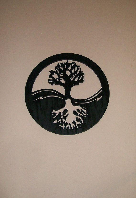 Yin Yang arbre de vie Silhouette bois mur moderne Art Wall Decor
