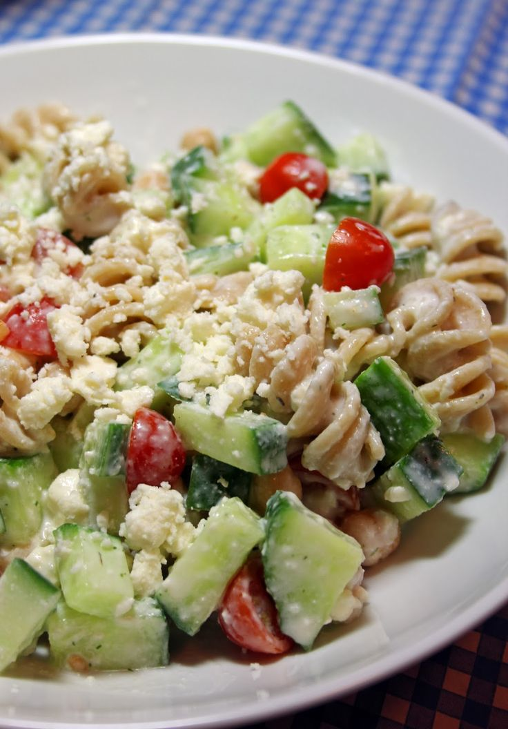 Jo and Sue: Greek Pasta Salad With Creamy Feta Dressing. (one huge portion is only 291 calories)