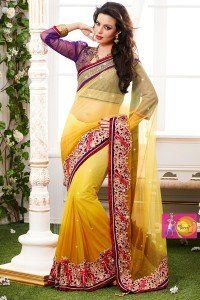 Elegant Lemon Yellow and Purple Color Designer